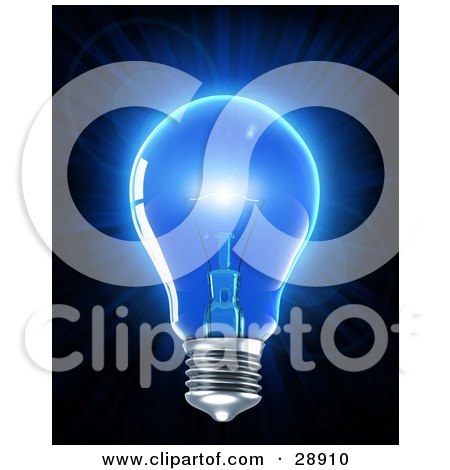 Clipart Illustration of an Electric Light Bulb Glowing With Blue Light, Symbolizing Inspiration And Creativity by Tonis Pan