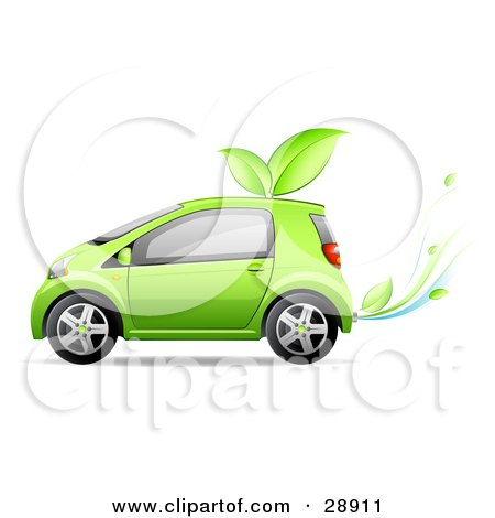 Clipart Illustration of a Green Compact Car Running Off Of Bio Fuel, With Leaves On The Roof And Leaves Coming Out Of The Exhaust by beboy