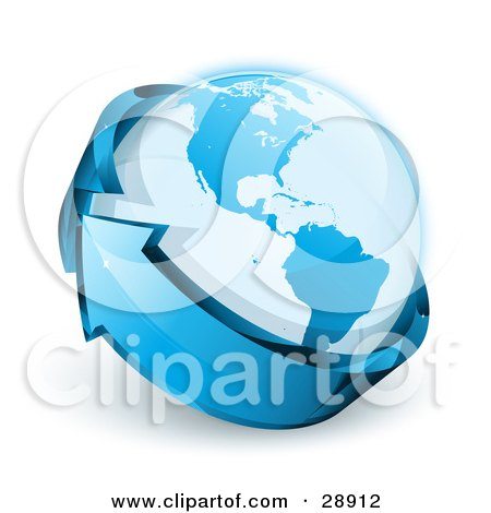Clipart Illustration of a Blue Shiny Arrow Circling Planet Earth by beboy