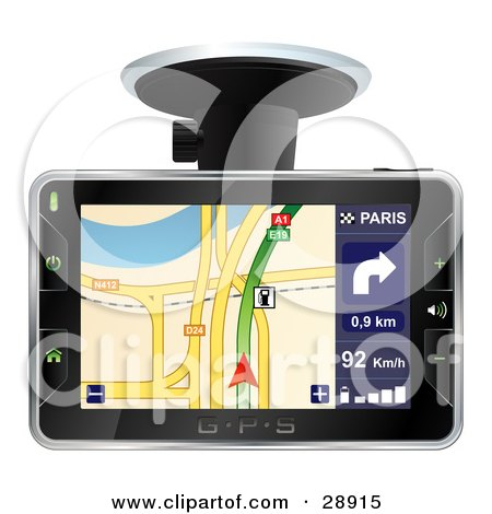 Clipart Illustration of an Arrow Directing A Driver On The Screen Of A GPS by beboy