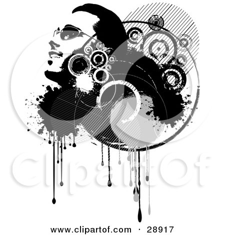 Clipart Illustration of a Smiling Man's Face In Profile, Looking Upwards, In A Grunge Cluster Of Black And White Circles, Drips And Splatters, Over White by KJ Pargeter