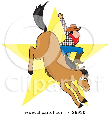 Clipart Illustration of a Cowboy Waving While Riding A Bucking Horse In A Bronco, A Yellow Star In The Background by Maria Bell