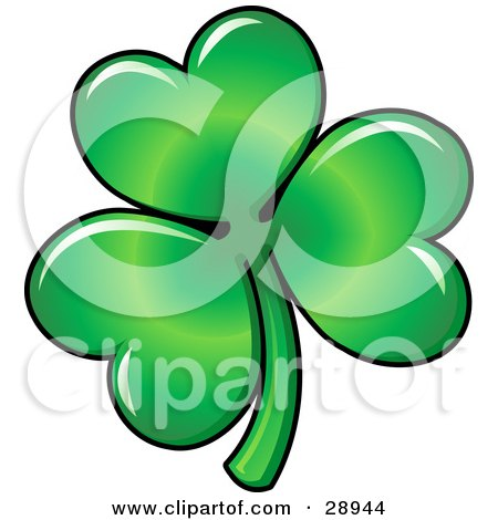 Clipart Illustration Of Green Three Leaved Shamrock Clover Leaf With Light Reflecting Off Of The Heart Shaped Petals