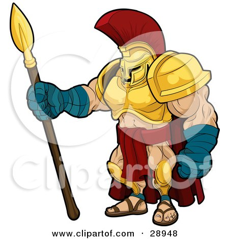 Clipart Illustration of a Muscular Spartan Or Trojan Gladiator Warrior In Golden Armor, Standing With A Spear by AtStockIllustration