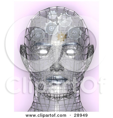 Clipart Illustration of a Chrome Wire Head With Glowing Eyes And Gears Working In The Brain, Symbolizing Creativity Artificial Intelligence, And Knowledge by AtStockIllustration