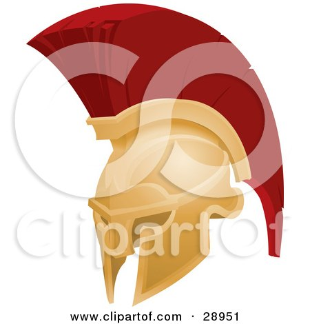 Clipart Illustration of a Golden And Red Spartan Or Trojan Helmet, Part Of Body Armor by AtStockIllustration