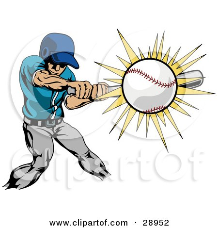 Clipart Illustration of a Strong Athletic Caucasian Man In Uniform, Swinging A Bat And Making Contact With A Baseball by AtStockIllustration