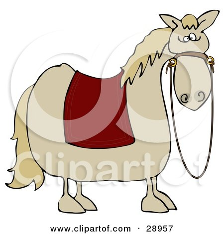 Clipart Illustration of a Spooked Horse With A Red Blanket Over Its Back And Reins Hanging Down From Its Face by djart