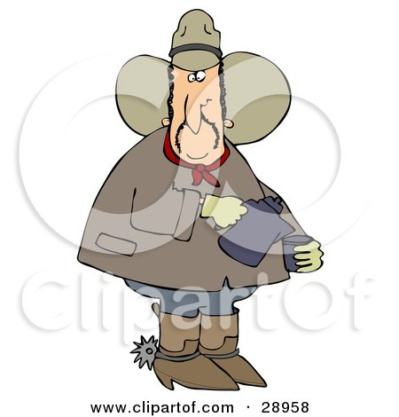 Clipart Illustration of a Chubby Cowboy In A Hat, Boots And Spurs, Pouring Coffee Into A Cup by djart
