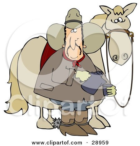 Clipart Illustration of a Spooked Horse Standing Behind A Cowboy Pouring A Cup Of Coffee by djart