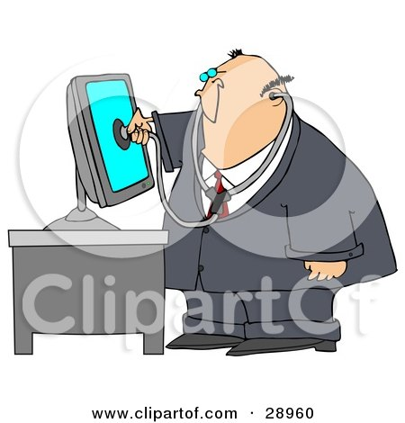 Chubby Computer Repair Doctor Holding A Stethoscope Up To A Computer Monitor Posters, Art Prints