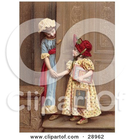 Vintage Clipart Picture of Two Little Sisters At A Doorway, Smiling And Holding Hands, Circa 1880 by OldPixels