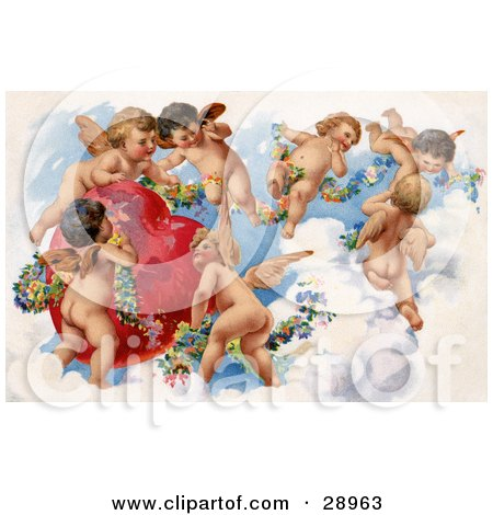 Clipart Picture of a Vintage Valentine Of A Group Of Playful Cherubs In The Clouds Of Heaven, Decorating A Red Heart In Floral Garlands, Circa 1909 by OldPixels