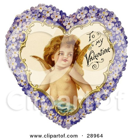 Clipart Picture of a Vintage Valentine Of Cupid Smiling Inside A Purple Floral Forget Me Not Heart, Circa 1890 by OldPixels