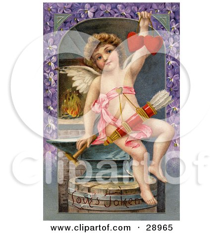 Clipart Picture of a Vintage Valentine Of Cupid Forging Two Valentine Hearts, Sitting On An Anvil With Arrows Hanging From His Chest, Circa 1911. by OldPixels