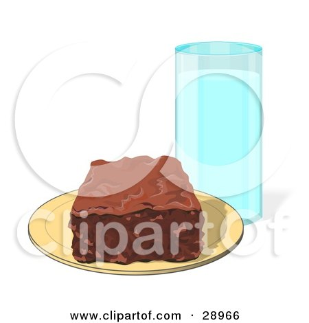Clipart Illustration of a Chocolate Brownie Square On A Yellow Plate With A Tall Glass Of Milk by djart