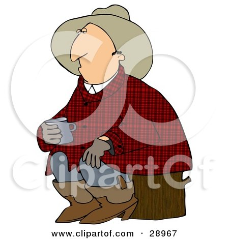 Clipart Illustration of a Sleepy Cowboy In Plaid, Sitting On A Stump And Holding A Cup Of Coffee by djart