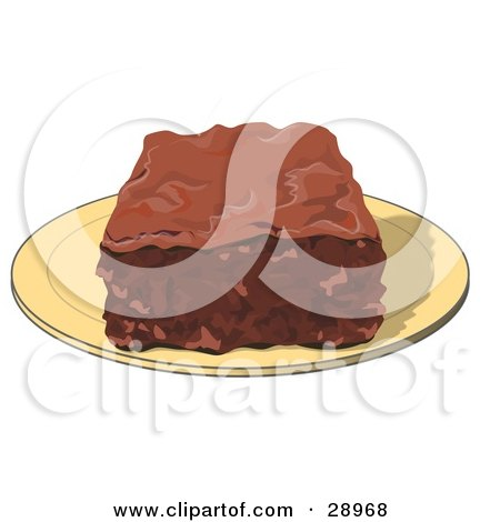 Clipart Illustration of a Chocolate Brownie Square On A ...