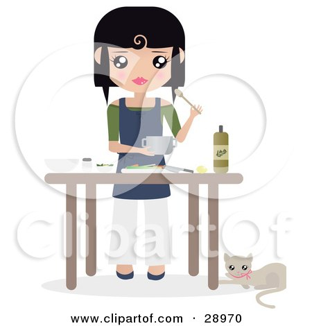 Clipart Illustration of a Cat Resting By A Table Where Black Haired Caucasian Woman Prepares Food by Melisende Vector