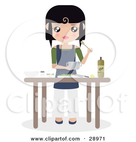 Clipart Illustration of a Black Haired Caucasian Woman Preparing Food With Oils And Veggies At A Kitchen Table by Melisende Vector