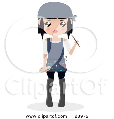 Clipart Illustration of a Black Haired Woman Wearing An Apron With Paint On It, Holding A Paintbrush And A Palette by Melisende Vector