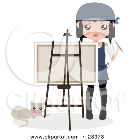 Clipart Illustration of a Cat Resting By A Female Artist Holding A Paintbrush And Looking Over A Canvas On An Easel by Melisende Vector