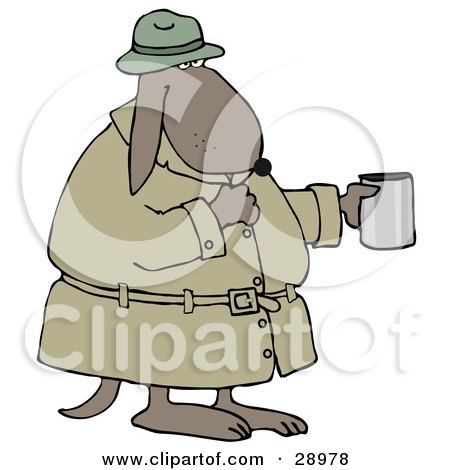 Clipart Illustration of a Poor, Homeless Dog In A Trench Coat And Hat, Standing And Holding A Cup, Asking For Spare Change by djart
