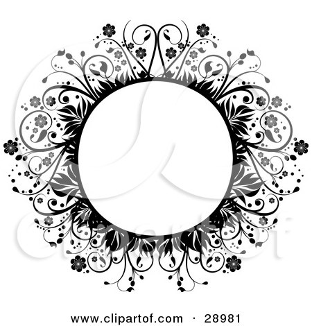 Blank Circle Framed By Black Flowers, Leaves And Vines, Over White Posters, Art Prints