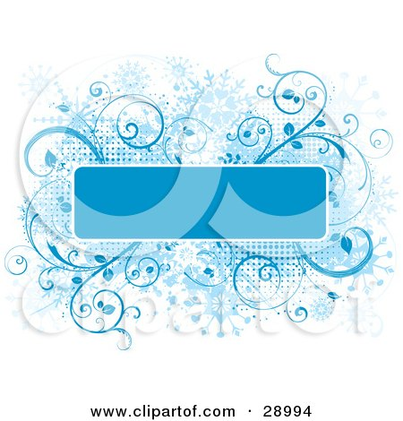 Clipart Illustration of a Blue Text Box Bordered In White Trim Over A Grunge Snowflake Background Of Blue Flourishes And Dots On White by KJ Pargeter