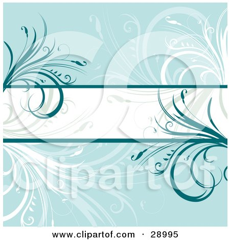 Clipart Illustration of a White Text Bar Bordered By Dark Blue Lines And Flourishes, Over A Blue Background With White And Faded Plants by KJ Pargeter