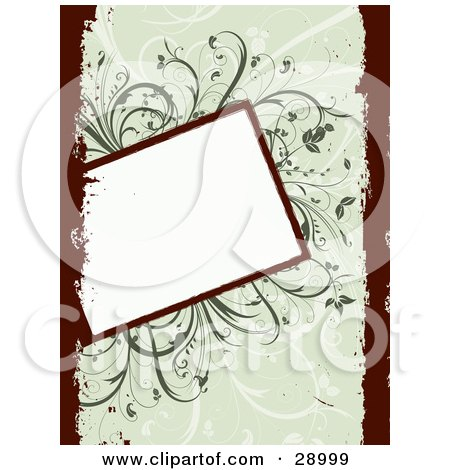Clipart Illustration of a Slanted Blank White Text Box Over A Green Background Of Vines With Dark Red Grunge Borders On The Left And Right Sides by KJ Pargeter