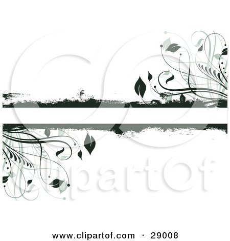 Clipart Illustration of Dark Green Grunge And Leafy Plants Bordering A Text Bar On A White Background by KJ Pargeter