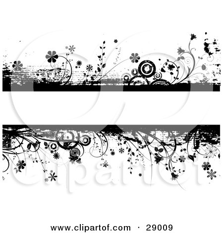 Clipart Illustration of a Blank Text Bar Framed With Black Flowers, Plants, Grunge And Circles Over A White Background by KJ Pargeter