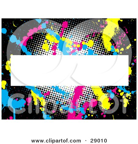 Clipart Illustration of a Black Background With Dots And Pink, Blue And Yellow Paint Splatters Behind A Blank White Text Box by KJ Pargeter