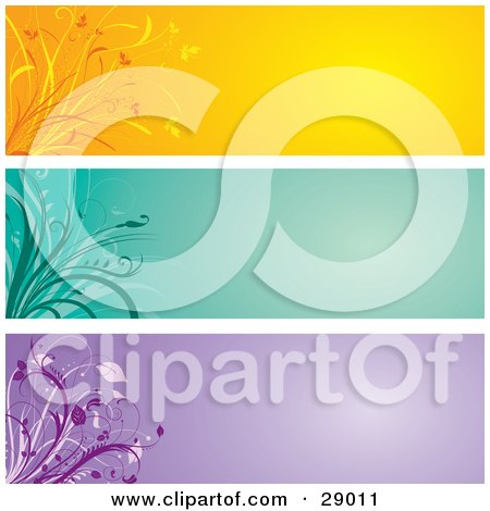 Clipart Illustration of a Set Of Three Orange, Green And Purple Website Banner Header Panels With Flourishes by KJ Pargeter