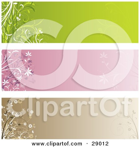 Clipart Illustration of a Set Of Three Green, Pink And Brown Web Site Banner Header Panels With Flowers And Pant Flourishes by KJ Pargeter