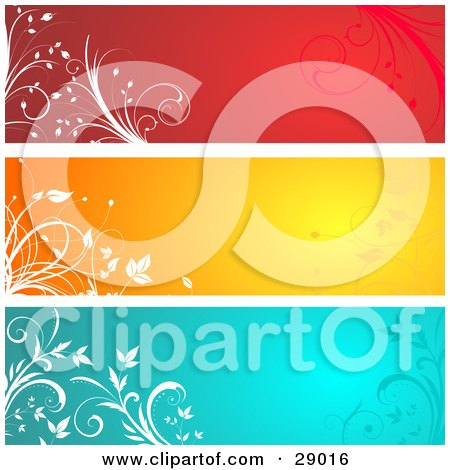 Clipart Illustration of a Set Of Three Red, Orange And Blue Website Banner Header Panels With White Silhouetted Flourishes by KJ Pargeter