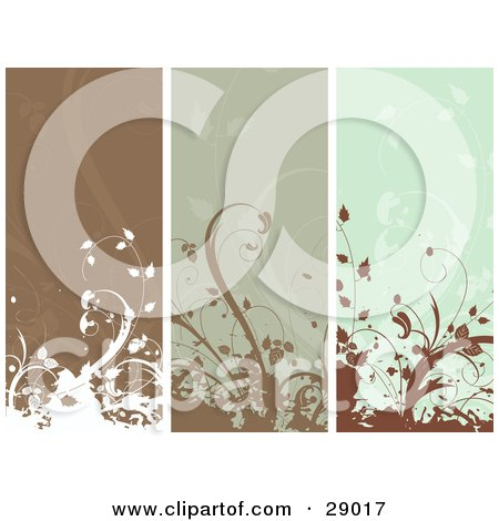 Clipart Illustration of a Set Of Three Brown And Green Vertical Website Banner Panels With Flourishes by KJ Pargeter
