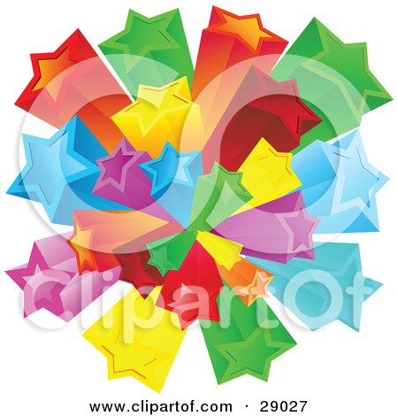Clipart Illustration of a Burst Of Rainbow Colored Red, Green, Yellow, Orange, Blue And Purple Stars Over A White Background by KJ Pargeter