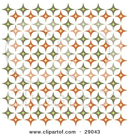 Clipart Illustration of a Retro Background Of Orange And Green Diamond Patterned Wallpaper by KJ Pargeter