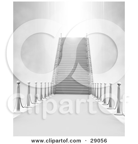 Clipart Illustration of Extreme Bright Light From Heaven Shining Down Upon Marble Stairs, Symbolizing Death Or Opportunity by Tonis Pan