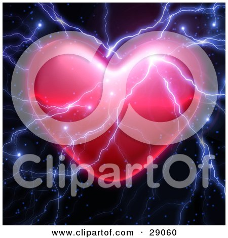 Clipart Illustration of Bolts Of Bright Lightning Striking A Valentine Heart by Tonis Pan
