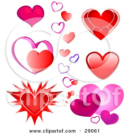 Clipart Illustration of a Set Of Pink, Red And Purple Valentine Heart Designs On A White Background. For Optimal Results, Purchase The Vector File by Tonis Pan