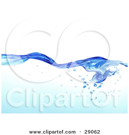 Clipart Illustration of Flowing Clear Blue Purified Blue Water With Air Bubbles Underneath, Over A White Background by Tonis Pan