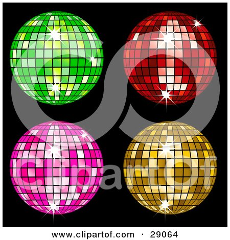 Clipart Illustration of Four Green, Red, Pink And Yellow Square Patterned Disco Balls On Black by elaineitalia