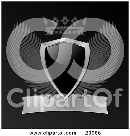 Clipart Illustration of a Black Shield With Gray Wings, A Crown And A Blank Scroll On A Black Background by elaineitalia