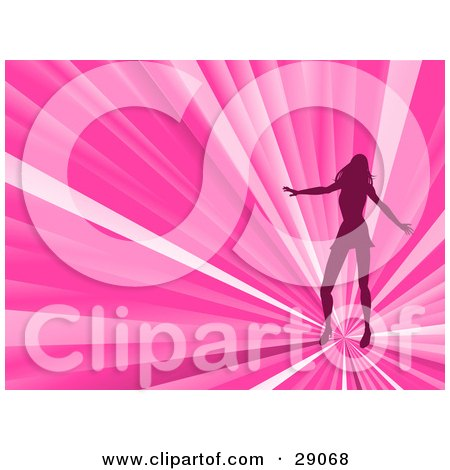 Clipart Illustration of a Silhouetted Woman Dancing On A Bursting Pink Disco Background by elaineitalia