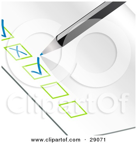 Clipart Illustration of a Blue Pencil Checking Off Items On An Organized Check List With Green Boxes by elaineitalia