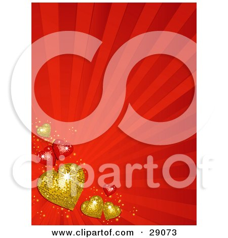 Clipart Illustration of Golden And Red Hearts Along The Lower Left Corner Of A Bursting Red Background by elaineitalia