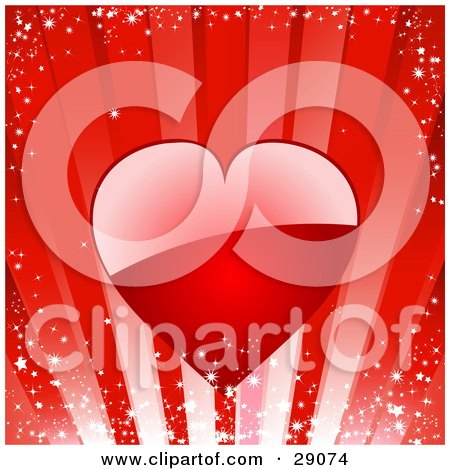 Clipart Illustration of a Big Shiny Red Heart Reflecting Light Over A Sparkly Red Bursting Background by elaineitalia